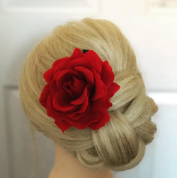 Gorgeous bridal updo with beautiful red