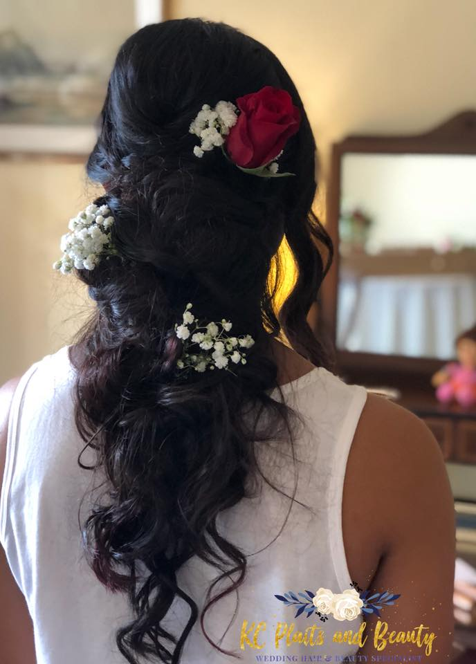 bridal hair up and down style