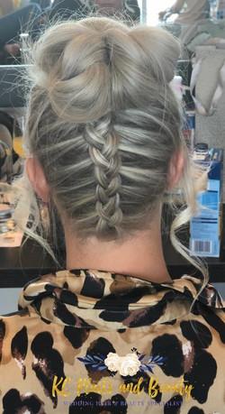bridesmaid plait and bun hair