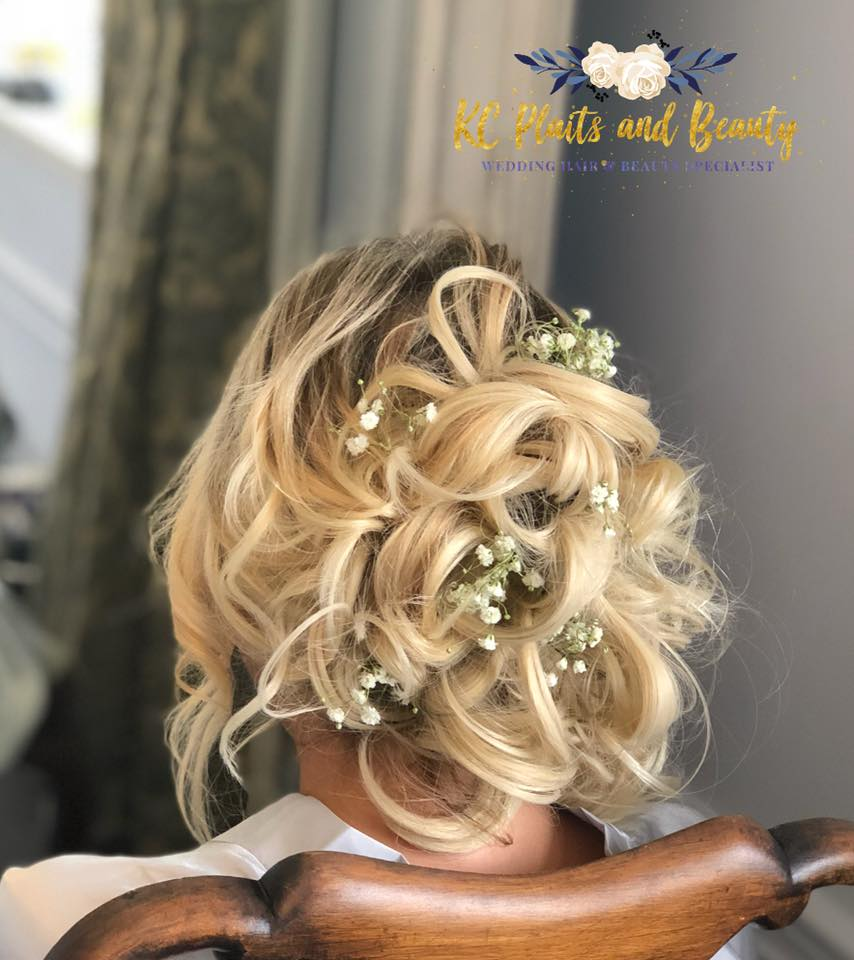 beautiful wedding hair messy bun with gy