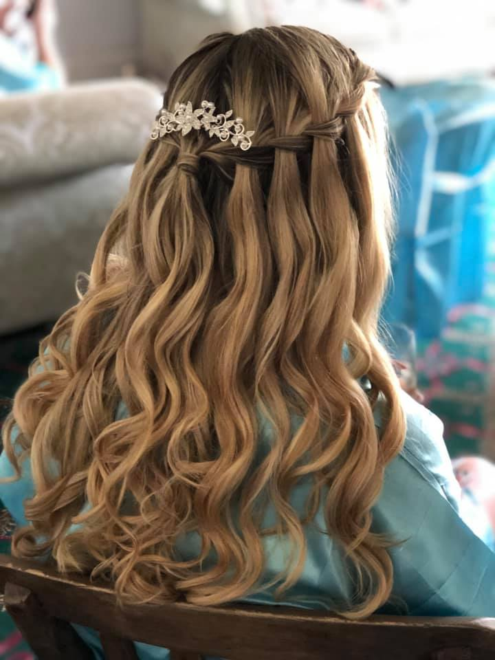 Beautiful Bridesmaid hair down with plai
