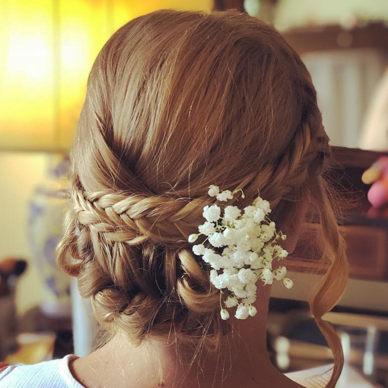 wedding hair updo with fishtail plai