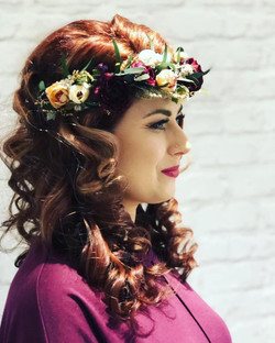 bouncy curls with flower crown