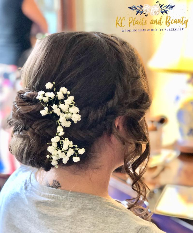 wedding hair updo curls and fishtail