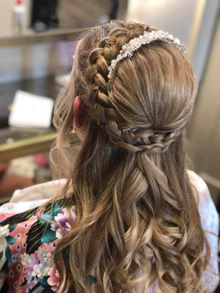 wedding hair curls and plaits