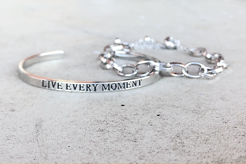 Silver Blessed Bracelet with Chain Link