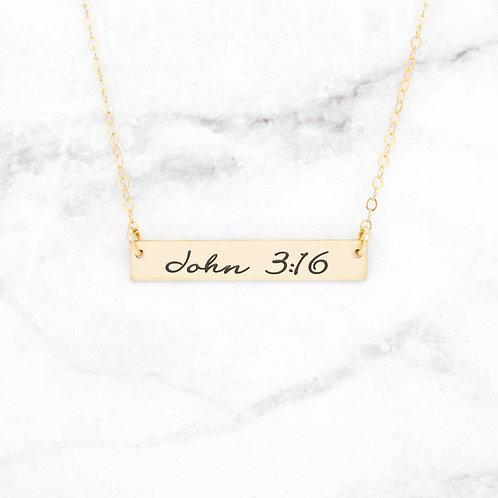 John 3:16 Necklace - Gold Bar Necklace