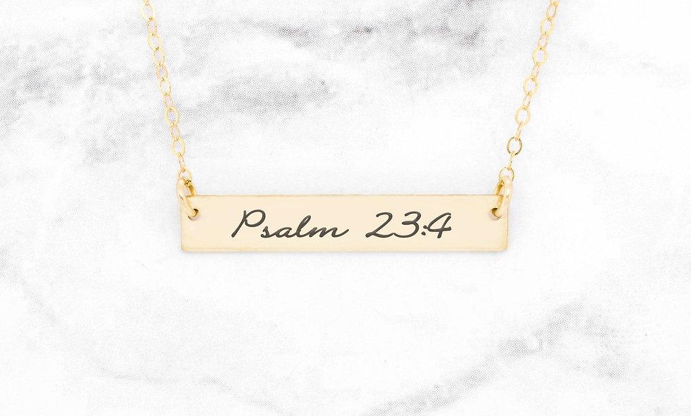 Psalm 23:4 Necklace - Gold Bar Necklace