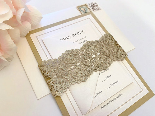 Elegant Glitter Laser Cut Monogram Wedding Invitation by Red Heart Paper Wedding Invitations