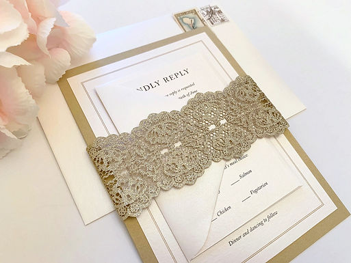 SIMPLE MONOGRAM Layered Wedding Invitation & RSVP Card (Sample)