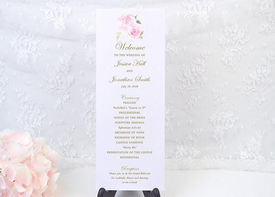 PINK ROSES Ceremony Wedding Programs (Set of 20)