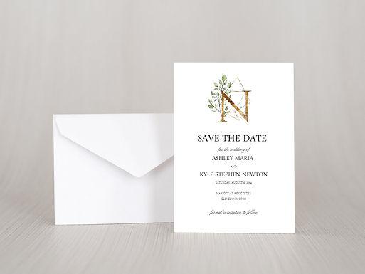 GEOMETRIC MONOGRAM Save the Date Invitation & Envelope (Set of 20)