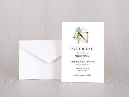 GEOMETRIC MONOGRAM Save the Date Invitation & Envelope (Set of 20)