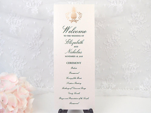 Elegant Pineapple Ceremony Program