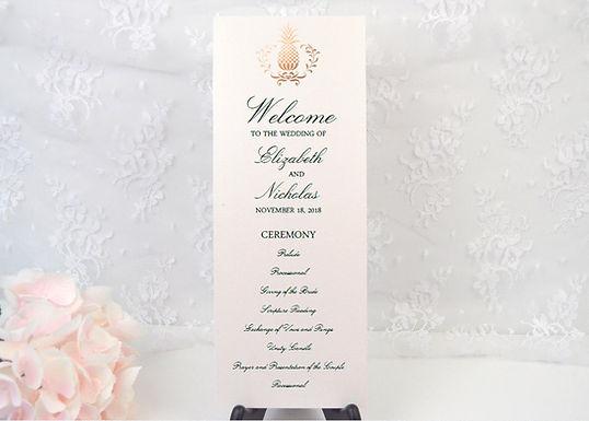ELEGANT PINEAPPLE Ceremony Wedding Programs (Set of 20)