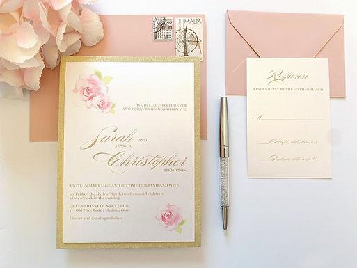 PINK ROSES Layered Wedding Invitation & RSVP Card (Sample)
