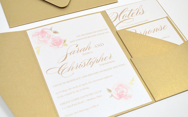 PINK ROSES Pocketfold Wedding Invitation, RSVP & Details Card (Sample)