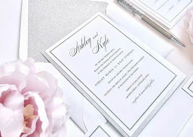 Elegant Silver Shimmer and Glitter Wedding Invitation by Red Heart Paper Invitations