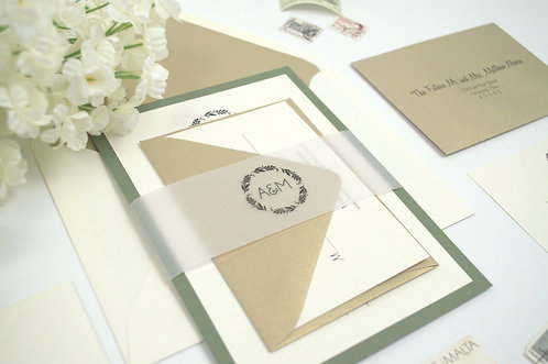 SIMPLE WREATH Flat Invitation | Sample Kit