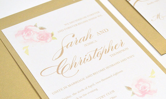 PINK ROSES Layered Wedding Invitation & RSVP Card (Sample)