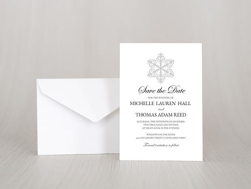SIMPLE SNOWFLAKE Save the Date Invitation & Envelope (Set of 20)