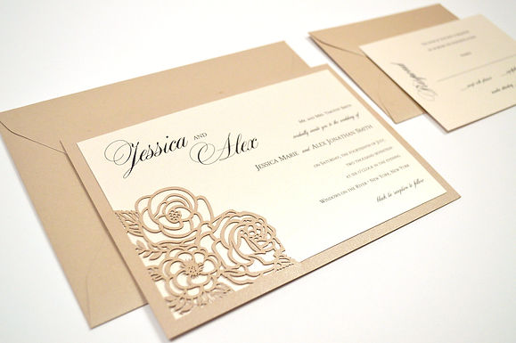 ELEGANT ROSES Laser Cut Wedding Invitation & RSVP Card (Sample)