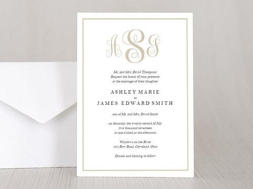 SIMPLE MONOGRAM Wedding Invitation & RSVP Card w/ Envelopes (Set of 20)