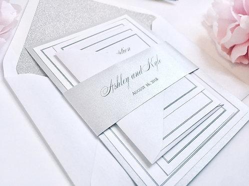 Elegant Silver and Glitter Ashley Wedding Invitation Red Heart Paper Wedding Invitations