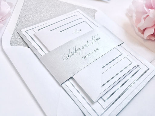 ASHLEY Layered Wedding Invitation & RSVP Card (Sample)