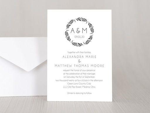 SIMPLE WREATH Wedding Invitation & RSVP Card w/ Envelopes (Set of 20)