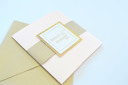 SIMPLY ROMANTIC Pocketfold Wedding Invitation, RSVP & Details Card (Sample)