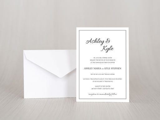 ASHLEY Wedding Invitation & RSVP Card w/ Envelopes | Set of 15
