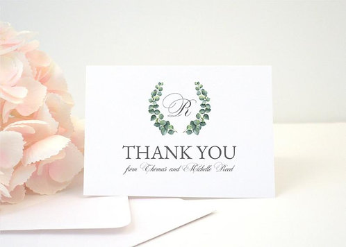 EUCALYPTUS WREATH Thank You Cards + Envelopes with Return Addressing | Set of 10