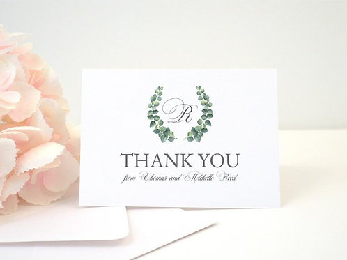 EUCALYPTUS WREATH Thank You Cards & Envelopes (Set of 10)
