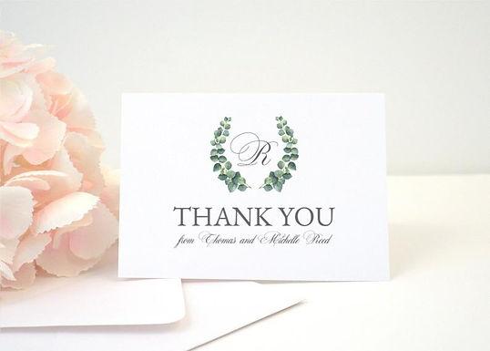 EUCALYPTUS WREATH Thank You Cards + Envelopes with Return Addressing   Set of 10