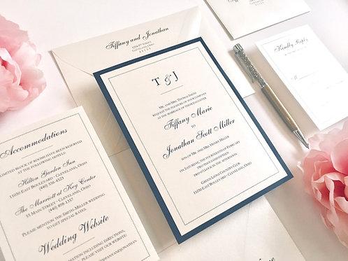 Elegant Monogram Dots Ivory and Navy Blue Shimmer Wedding Invitation by Red Heart Paper Wedding Invitations