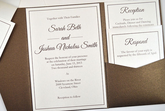 ELEGANT SCRIPT Pocketfold Wedding Invitation, RSVP & Details Card (Sample)