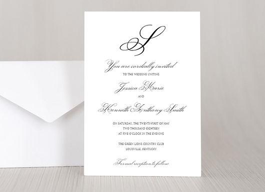 MONOGRAM SCRIPT Wedding Invitation & RSVP Card w/ Envelopes (Set of 20)
