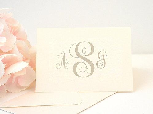 SIMPLE MONOGRAM Thank You Cards & Envelopes (Set of 10)