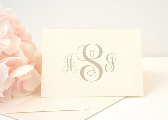 SIMPLE MONOGRAM Thank You Cards & Envelopes (Set of 10)