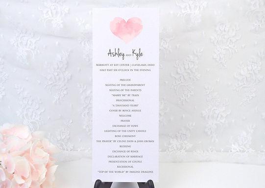 WATERCOLOR HEART Ceremony Wedding Programs (Set of 20)
