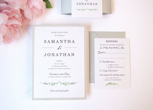 LAUREL LEAVES Layered Wedding Invitation & RSVP Card (Sample)