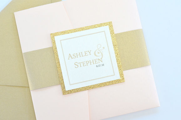 SIMPLY ROMANTIC Pocketfold Wedding Invitation, RSVP & Details Card (Sample)