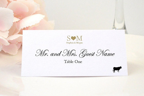 Monogram Heart Place Card