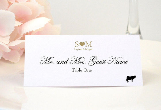 MONOGRAM HEART Place Card (Set of 20)