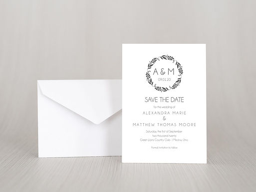 SIMPLE WREATH Save the Date Invitation & Envelope (Set of 20)