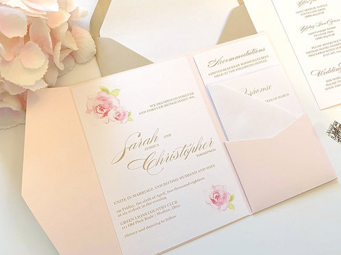 Elegant Floral Watercolor Blush Pink Roses Pocketfold Wedding by Red Heart Paper Wedding Invitations