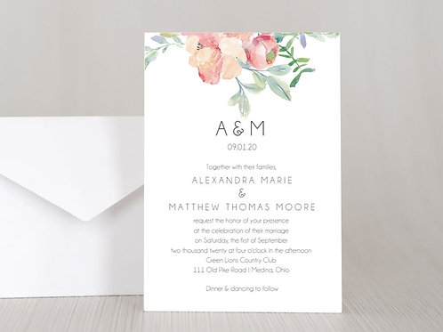 FLORAL WATERCOLOR Wedding Invitation & RSVP Card w/ Envelopes (Set of 20)