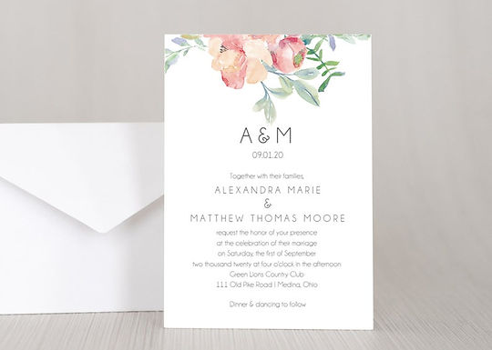FLORAL WATERCOLOR Wedding Invitation & RSVP Card w/ Envelopes (Set of 20)