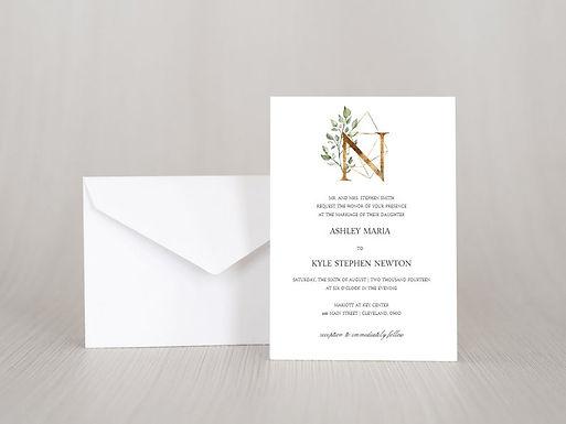 GEOMETRIC FLORAL Wedding Invitation & RSVP Card w/ Envelopes | Set of 15